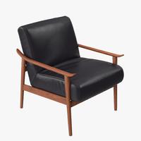 west elm mid-century leather 3d model