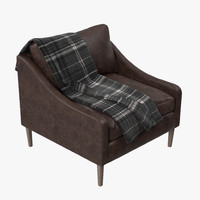 west elm lindrum leather 3d max