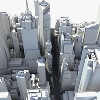 3d model square district skyscrapers