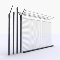 Low Poly Chain Link Fence Parts