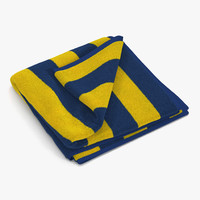 3d model beach towel 2 yellow