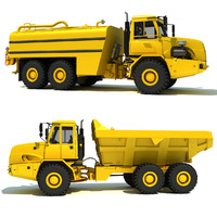 3d model dump truck water wagon