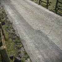 3d model cracked asphalt road