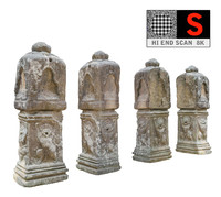 3d ancient column cambodia model
