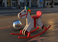 3d obj wooden rocking horse