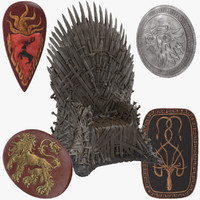 thrones iron shields games 3d model