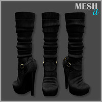 boots heels knitted 3d model