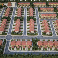 3d model heighborhood area 180 houses