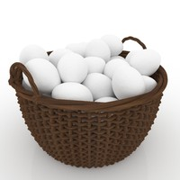 3d easter wicker basket eggs