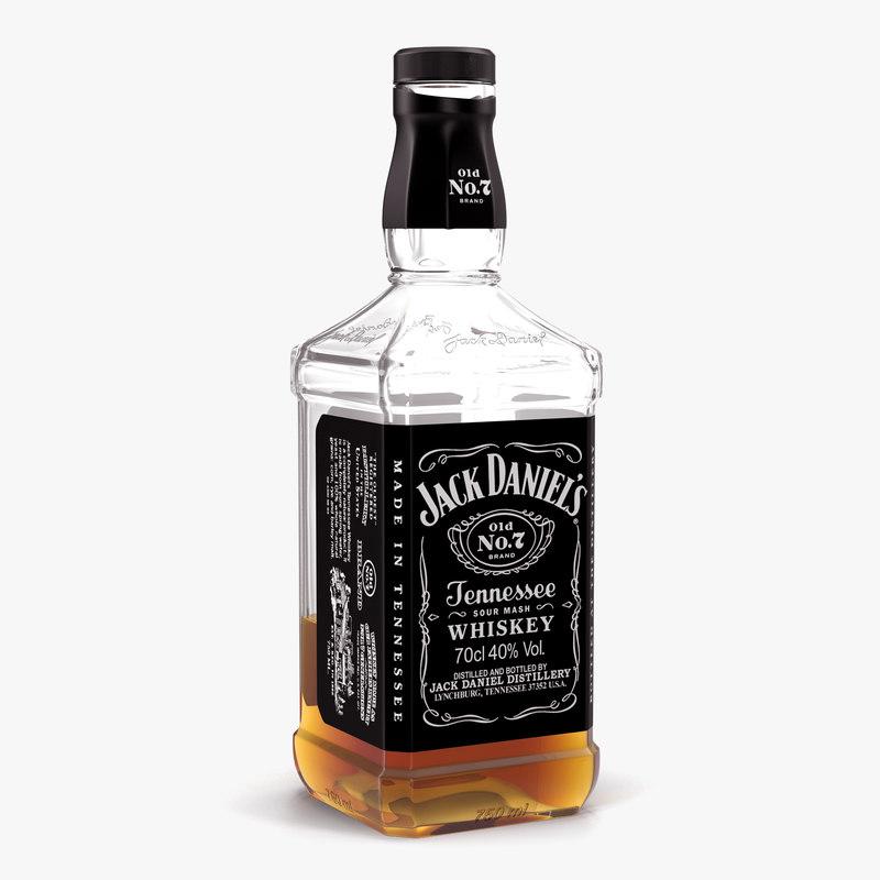 Jack Daniels Bottle Half 3d Max