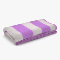 3d model of beach towel 3 pink