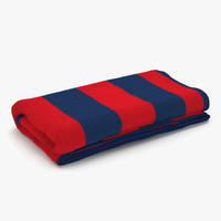 beach towel 3 red 3d model