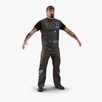 3d biker man fur 2 model