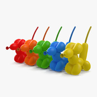 3d balloon mouses set model