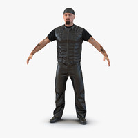 3d biker man generic fur model