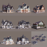 3d half-timbered houses