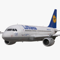 airbus a318 lufthansa rigged 3d model