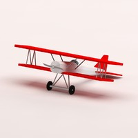 cartoon fokker plane 3d model