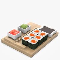 3d model salmon roll