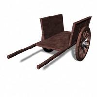 3d obj horse cart