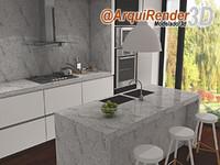 kitchen white marble 3d max