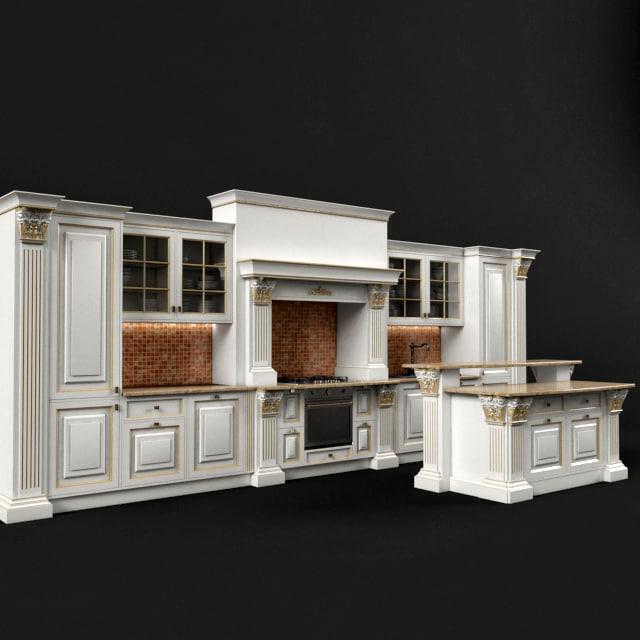 Classic kitchen 01 3d max for Model kitchen set 2016