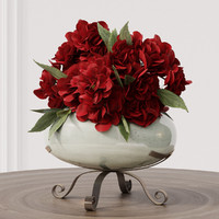 3d model bouquets red white