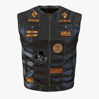 leather biker vest 3d c4d