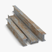 iron beams set 3d 3ds