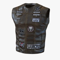 leather biker vest 2 3d 3ds