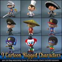 9 cartoon characters 3d max