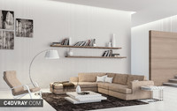 White Living Room Scene