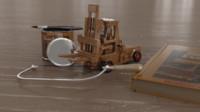 wooden forklift scene 3d model