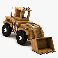 wooden toy bulldozer wood 3d max