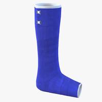 3d model blue fiberglass cast leg