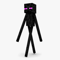 3d minecraft enderman rigged model
