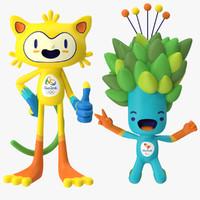 rigged 2016 olympics mascots max