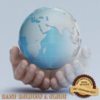 hand holding globe dxf