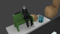 3d seated character bench model