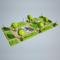 3d max city park 1x2 size