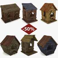 3d set birdhouses