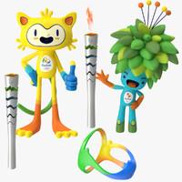 2016 olympics mascots torches 3d model