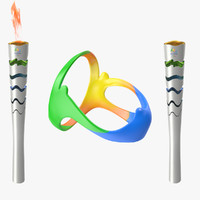 2016 olympic torches rings 3d model