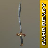 ready scimitar sword - 3d model
