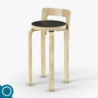 3d alvar aalto k65 chair designer
