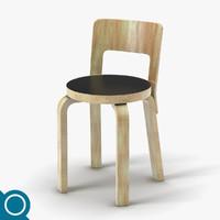 3d c4d alvar aalto n65 chair designer