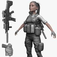 3d soldier militant zbrush model