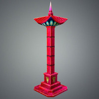 3d model stylize pillar red