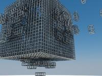 3d cube explotion model
