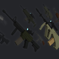 3d simple assault rifles